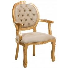 Cadeira Medalhão II Entalhada - Dourado e Creme Texturizado