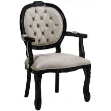 Cadeira Medalhão II Entalhada - Preta e Veludo Amassado Branco