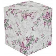 Puff Quadrado - Florido Rosa Claro