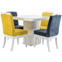 Sala de Jantar Compacta Komfort Branca com Tampo de Vidro + Cores
