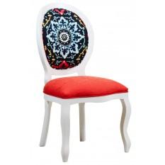 Cadeira Medalhão III Lisa - Branca com Composê Vermelho e Azul