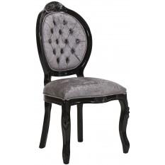 Cadeira Medalhão IV Entalhada - Preto com Cinza Brilhante + Cores