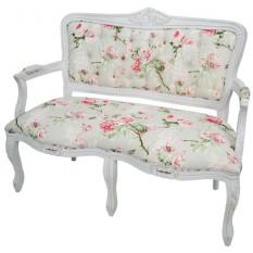 Namoradeira Entalhada Luis XV - Provençal Branca e Floral Rosa